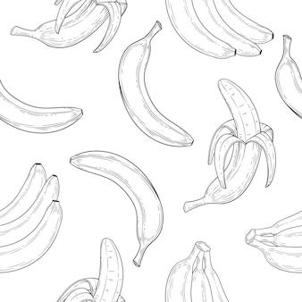 Patrón sin costuras de plátano en estilo grabado