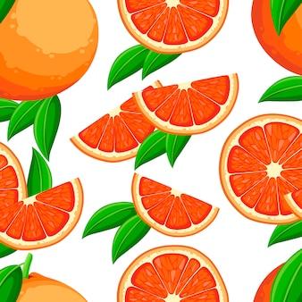 Patrón sin costuras. pomelo con hojas verdes y rodajas de pomelo. ilustración en estilo plano. cartel decorativo, producto natural emblema, mercado de agricultores. fondo blanco.