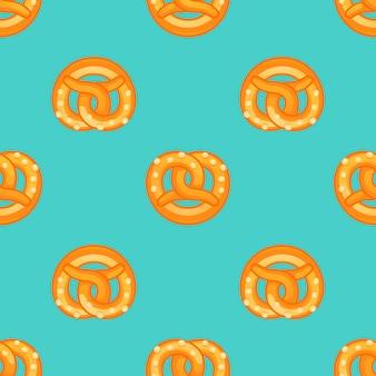 Patrón sin costuras de pretzel, estilo de dibujos animados