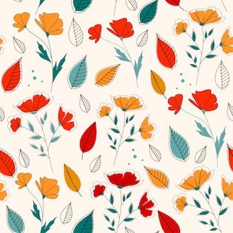 Patrón sin costuras de primavera con flores y hojas tropicales