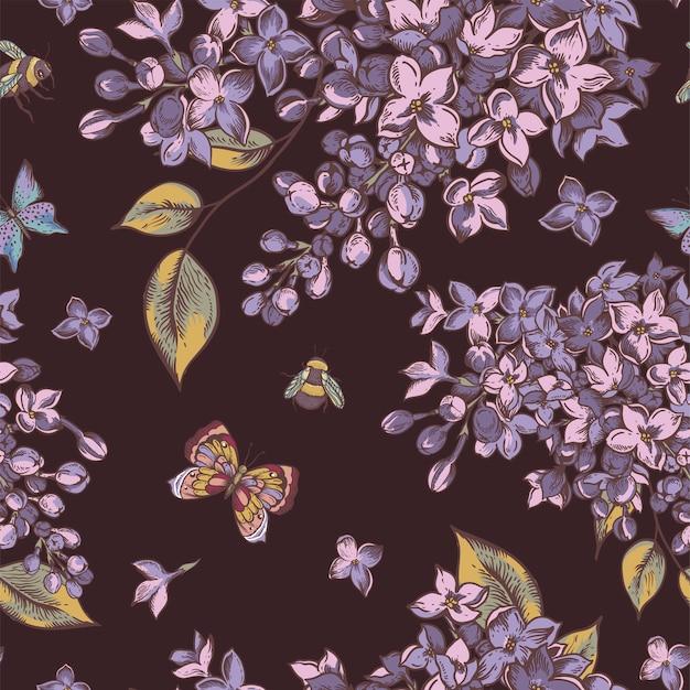 Patrón sin costuras de primavera vintage con flores florecientes de color lila