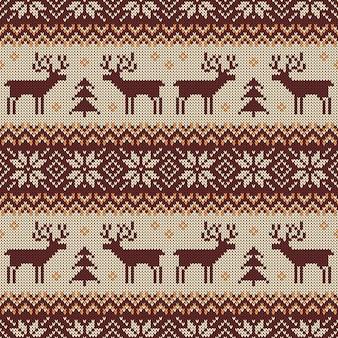 Patrón sin costuras de punto con ciervos