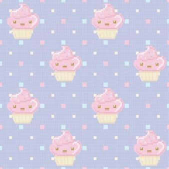 Patrón sin costuras de punto con cupcakes sobre fondo de lunares morados