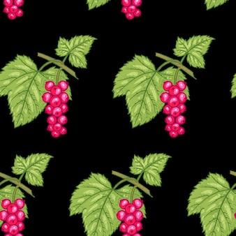 Patrón sin costuras. ramas con hojas y grosella roja sobre fondo negro. ilustración para embalaje, papel, papel tapiz, telas, textiles.