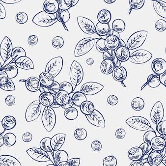 Patrón sin costuras con ramitas de bosquejo de arándano