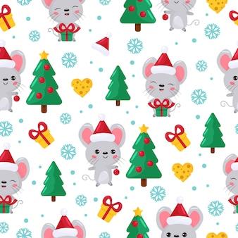 Patrón sin costuras ratón kawaii de dibujos animados lindo con árbol de navidad y regalos.