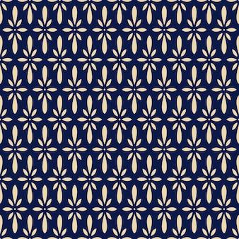 Patrón sin costuras retro azul marino flor japonesa chintz