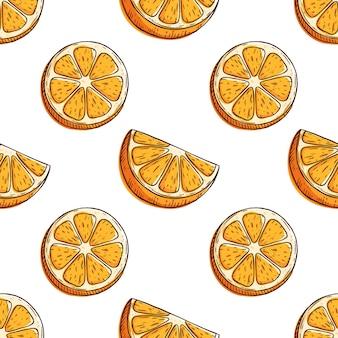 Patrón sin costuras con rodaja de naranja