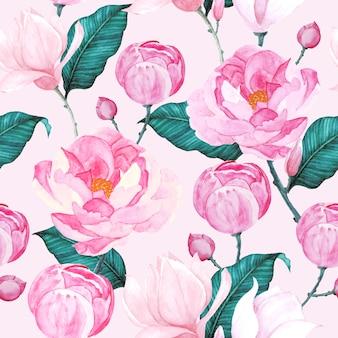 Patrón sin costuras rosas acuarela