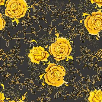 Patrón sin costuras rosas amarillas