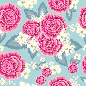 Patrón sin costuras rosas rosadas y amarillas