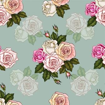 Patrón sin costuras rosas vintage