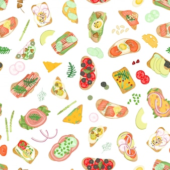 Patrón sin costuras de sándwiches con diferentes ingredientes vegetales y cárnicos y elementos alimenticios