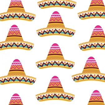 Patrón sin costuras de sombrero mexicano