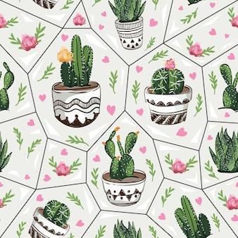 Patrón sin costuras con suculentas y cactus