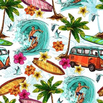 Patrón sin costuras de surf