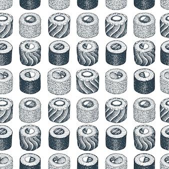 Patrón sin costuras sushi ilustraciones dibujadas a mano.