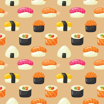 Patrón sin costuras sushi