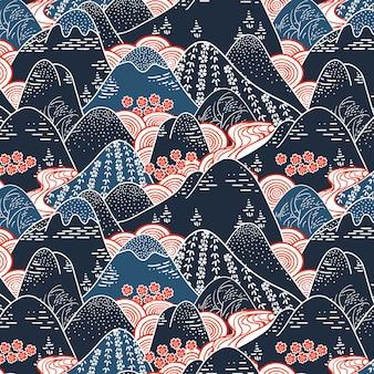 Patrón sin costuras de tela de kimono de montañas orientales