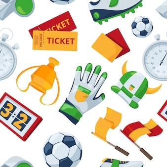 Patrón sin costuras en el tema del fútbol. ilustración de fondo de deporte de fútbol