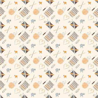 Patrón sin costuras en un tema de tejer, accesorios