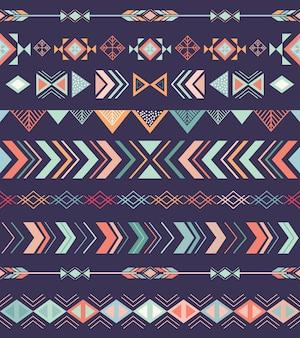 Patrón sin costuras tribal azteca con elementos geométricos