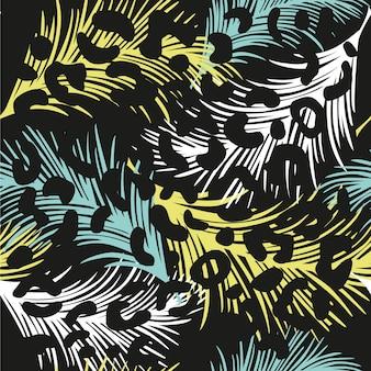 Patrón sin costuras tropical con plumas de colores y estampado de leopardo