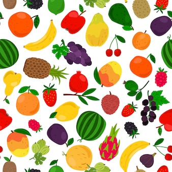 Patrón sin costuras tropicales de frutas