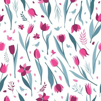 Patrón sin costuras tulipán