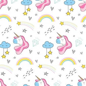 Patrón sin costuras de unicornio y arco iris en estilo kawaii