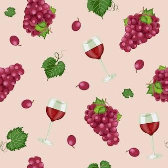Patrón sin costuras de uva con copas de vino