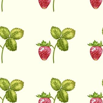Patrón sin costuras vector con flores y fresas