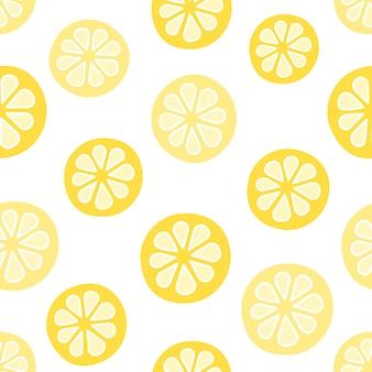 Patrón sin costuras de vector con limones. estilo de dibujos animados