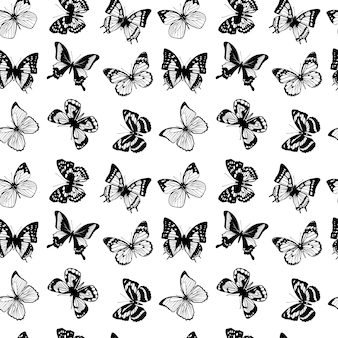 Patrón sin costuras vector con mariposas