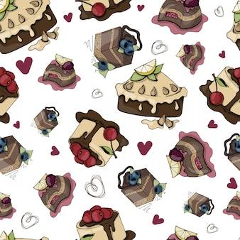 Patrón sin costuras de vector con pasteles y pasteles