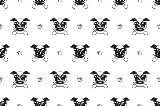 Patrón sin costuras de vector de personaje de dibujos animados perro pug