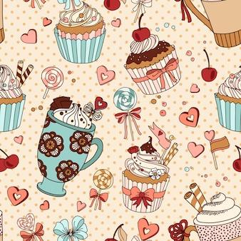 Patrón sin costuras vector con tazas de café y cupcakes