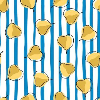 Patrón sin costuras vegetal con adorno de pera amarillo al azar