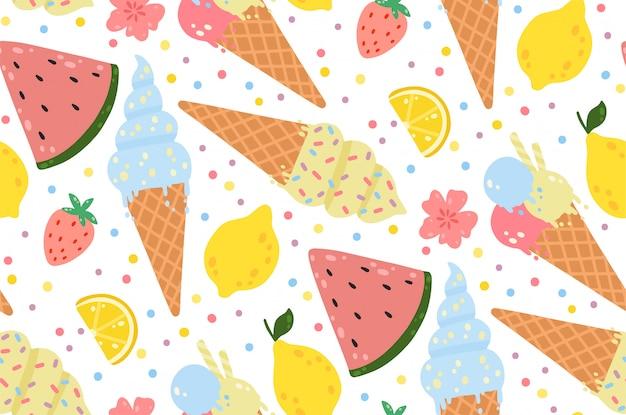 Patrón sin costuras de verano con helado, limones, fresas, flores y sandías.