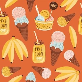 Patrón sin costuras de verano con helado.