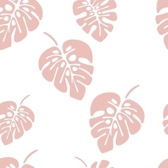 Patrón sin costuras de verano con hojas de palma monstera rosa sobre fondo blanco