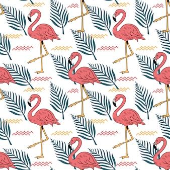 Patrón sin costuras de verano con hojas tropicales de pájaro flamenco rosado