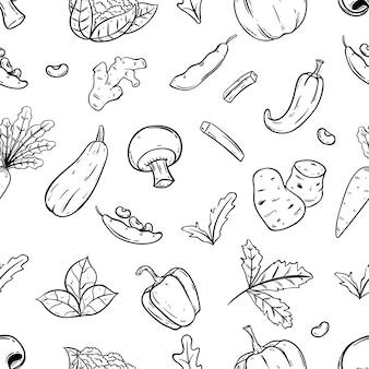 Patrón sin costuras de verduras con estilo doodle