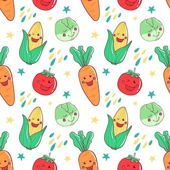 Patrón sin costuras de verduras en estilo kawaii