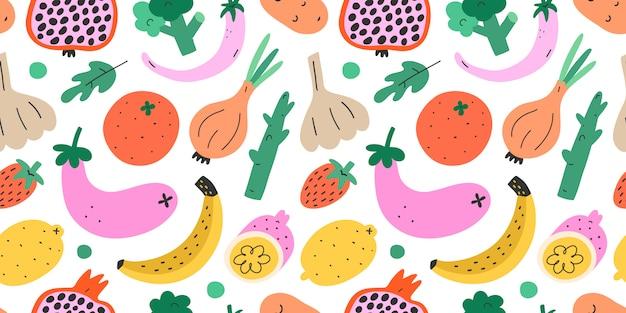 Patrón sin costuras de verduras y frutas