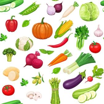 Patrón sin costuras de verduras.