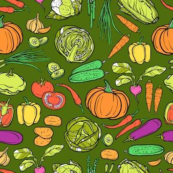 Patrón sin costuras de verduras