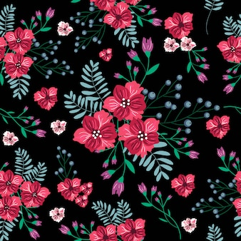 Patrón sin costuras vintage flor roja