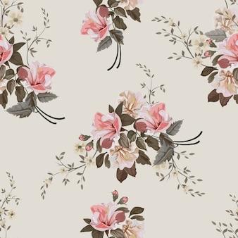 Patrón sin costuras vintage flor