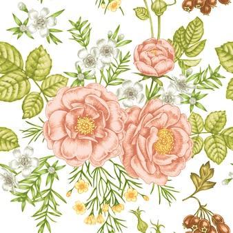 Patrón sin costuras vintage floral
